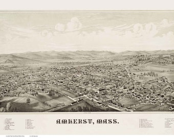 Amherst Massachusetts 1886 Birds Eye View MA