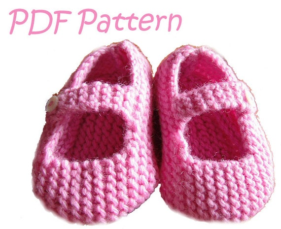 Knitting Pattern For Mary Jane Baby Shoes 6 12 Months Pdf From