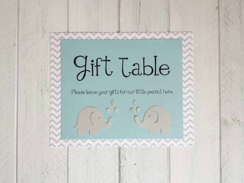 Baby Shower Poster Light Blue And Chevron Elephants Welcome To