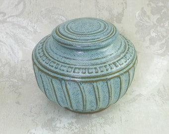 Decorative Speckled Aqua LIdded Jar or Pet Urn