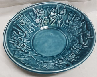 Antique Majolica Bowl with Story Theme