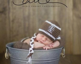 Newborn football hat, crochet football hat, toddler football hat, newborn photo prop, football hat, baby football hat, sports hat
