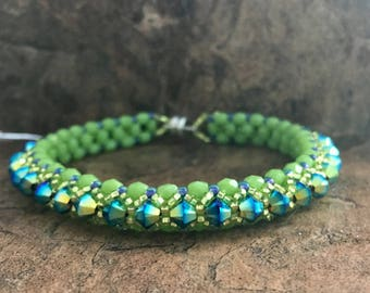 Swarovski Crystal Tennis Bracelet in Lime and Jet 2XAB