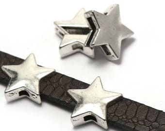 """4 beads passing """"Star"""" 18 x 18 x 6 mm, silver"""