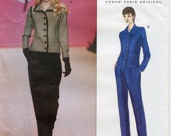 Yves Saint Laurent UNCUT Sewing Pattern Vogue 2077 Women's Jacket and Pants Suit Sizes 8-10-12 Small