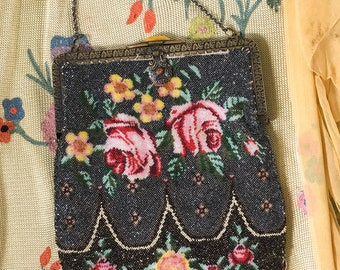 Beaded 1920's Purse with Rose Motif