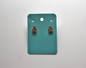 Tiny Christmas Gingerbread Man Stud Earrings