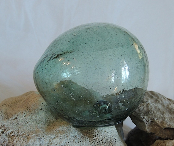 Vintage Japanese GLASS FISHING FLOAT.. Bubbles, Odd Shape, Moss Green (# 56)