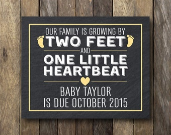 Printable Pregnancy Announcement - Pregnancy Reveal Sign - Announcement Card - Two Feet and One Heart - Pregnancy Announcement Sign