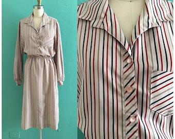 vintage 70's striped shirt dress // multi color secretary dress