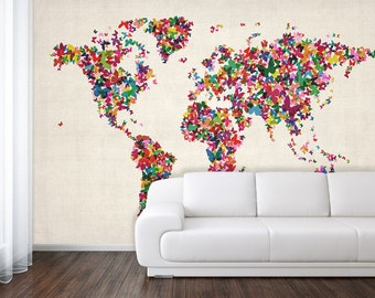 Giant world map mural classic home decor living room wallpaper butterflies art map of the world home wall decal bedroom gumiabroncs Images