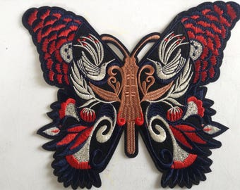 Large butterfly monarch iron on sew on embroidery patch