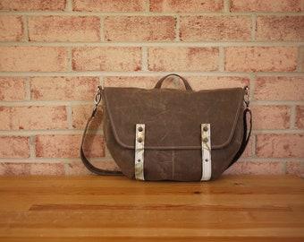 Waxed Canvas Messenger in Olive Brown- Vegan Messenger Travel Bag