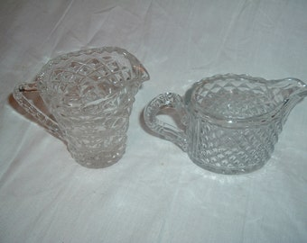 VINTAGE  diamond cut  pitcher / creamer