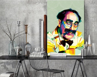 Tribute to Groucho Marx PORTRAIT personalized gift for cinema lovers and gift idea framed art for cineasts and movie poster fans pop art