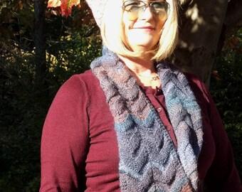 Chevron Gradient Knitted Scarf; Chevron Infinity Scarf