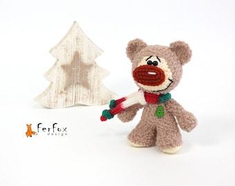 Christmas gift Teddy bear Plush bear Stuffed bear Winter holiday decor Christmas decoration Woodland animal Stocking filler Stuffed animals
