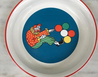 vintage Barnum's Animals child's bowl by Nabisco, International China Co, clown balloons cereal bowl