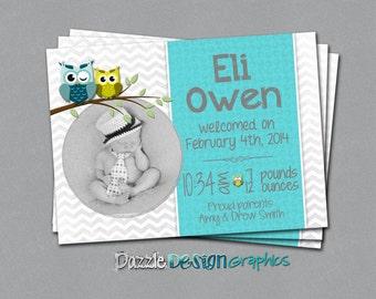 Printable Chevron Owl birth announcement, teal gray chevron owls baby announcement, #281 Digital File