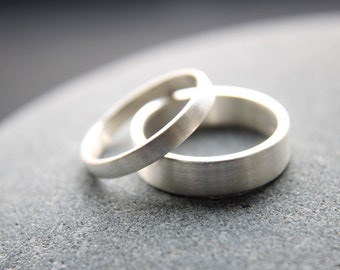 3mm + 5mm wedding ring set in Argentium silver, featuring tarnish-resistant properties of Argentium silver - custom made for him and her