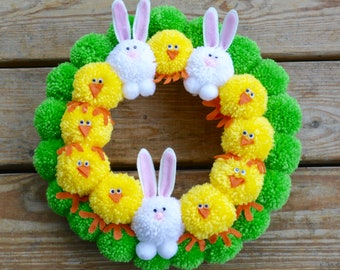 Easter Pom Pom Wreath with Bunnies and Chicks, Bright Easter Pom Pom Wreath