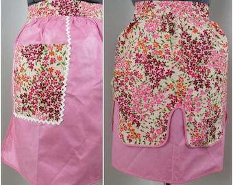 Vintage Reversible Half Apron - Pink Floral and Polished Cotton - Deadstock Original Tags