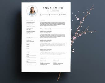 """Modèle de CV """"ANNA"""" moderne & Lettre de motivation   4 Pages   Pour Ms Word   Guide d'utilisation Français + Anglais   Professionnel  """