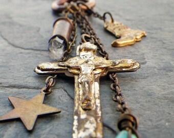 talisman charm necklace, vintage cross, crystal bullet