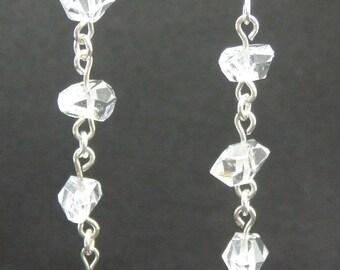 Herkimer Diamond Quartz & Ruby Long Sterling Dangle Earrings