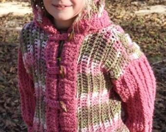 Attitude Child Crochet Hooded Jacket 5-8, Boy's Crochet  Cardigan, Girl's Crochet Coat, Crochet Child's Hooded Coat, Crochet Coat Pattern