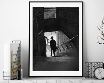 London Print, London Street Photography, Bank station, London Underground, noir print, black and white, London photography, London wall art