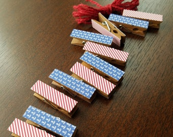 Chunky Little Clothespins Clips w Twine Clothesline - Summer Nautical Boat Anchors - Ocean Theme - Set of 12 - Yacht Party - Summer Memories