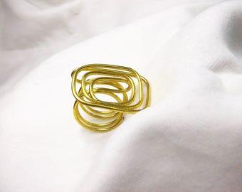 Modern handmade bronze wire ring