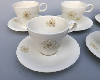 Vintage Atomic Teacups and Saucers by Raymor Universal - Design by Ben Seibel - Mid Century Modern