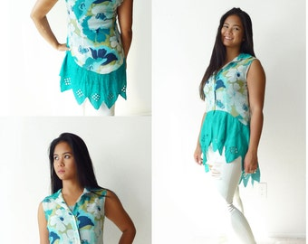 Upcycled Reworked blouse- XS sleeveless, high low tunic -aqua floral, cutout diamond embroidery, sheer, button down