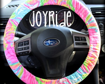 Steering Wheel Cover Lilly Pulitzer So A Peeling Fabric Fully lined with Grip Tight Designer Car Accessories Coral For Girls Woman