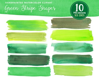 Green watercolor headers and strips, watercolor clipart shapes lime green, watercolor graphic set PNG files, instant download