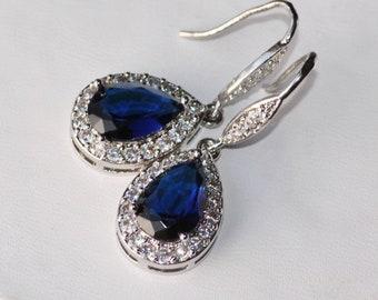 Sapphire Navy Blue Silver Pave Bridal Earrings,Navy Blue Halo Drop Dangle Hook,Crystal Rhinestone Earring,Something Blue,Classic,Dark Blue