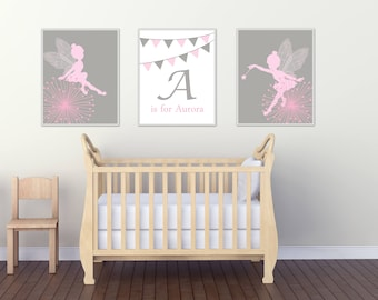 Baby Girl Nursery Wall Art, Personalized Name and Fairy Nursery Art, Suits Pink and Grey Nursery Decor and Bedroom Decor - H128