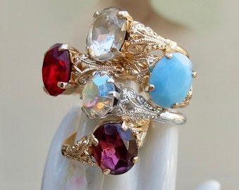 Vintage German Rings 5 Pieces Size 5.5