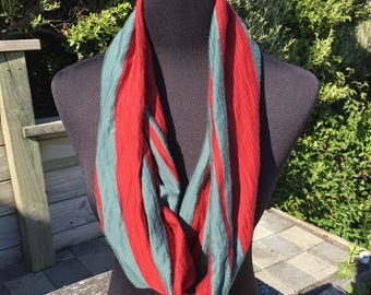 Merino wool infinity scarf, red and grey striped neck warmer, striped wool cowl, red infinty scarf, red wool circle scarf