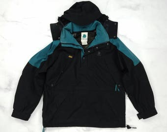 Vintage 90s Alpine Designs Gore-Tex Black Green Hooded Ski Jacket Coat, Mens Large