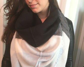 black ombre colour block scarf,Blanket Scarf for Women, Zara Tartan Inspired,Oversized Large Unique,trendy, popular selling
