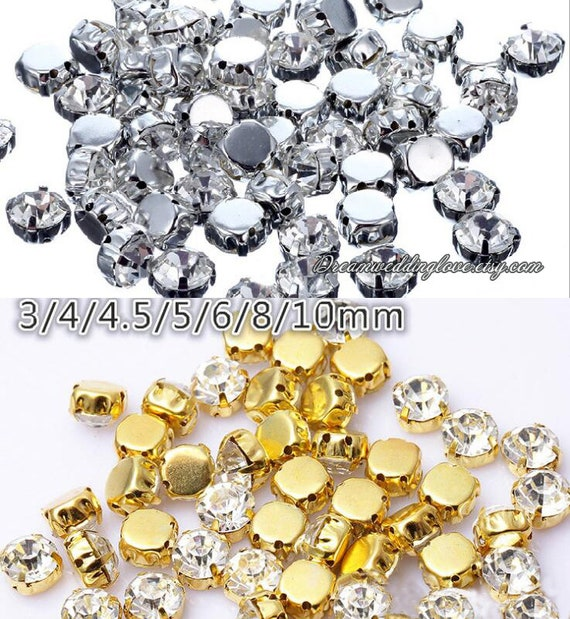 Sew On Clear Crystal 5mm 4mm 4.5mm 3mm  Round Rhinestones In Silver Gold Prong Setting Solid Flat Back Loose Rhinestone Crystal Glass Beads by Etsy
