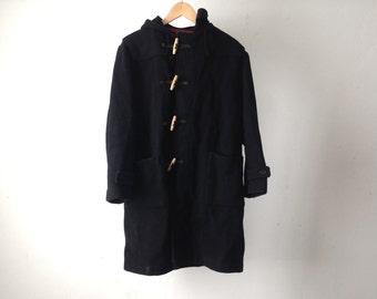 vintage men's WOOL PARKA solid long coat 80s BLACK hooded jacket Pea coat