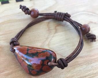 Orbicular Poppy Jasper and Leather Bracelet