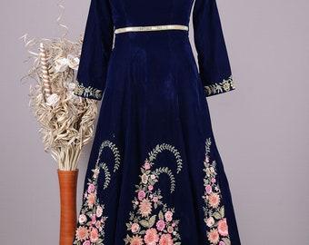 Navy Velvet Gown