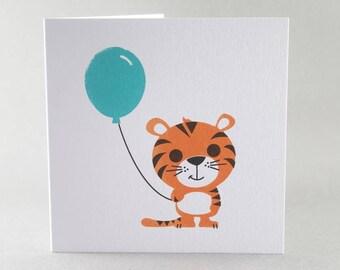 Tiger Card, Tiger Birthday Card, Tiger and Balloon Card, Cute Tiger Card, Birthday Card, Children's Birthday Card, Cute Birthday Card