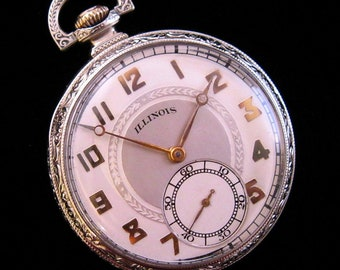 Stunning! Illinois Pocket Watch - c.1922 - Gold Plated Fittings