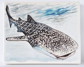 Whale Shark Artwork Design on Chunky Ceramic Plaque.  Ready to Hang on Wall or Propped on a Plate Stand etc.